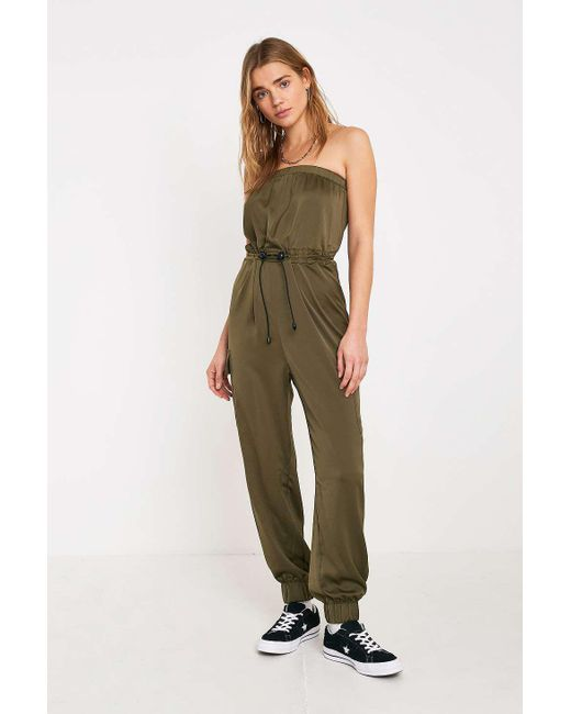 78b3805f617a Urban Outfitters - Green Uo Elise Satin Strapless Jumpsuit - Womens M -  Lyst ...