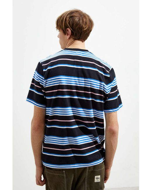 709b576ad8 Lyst - Stussy Thomas Stripe Crew Tee Black in Black for Men - Save 49%