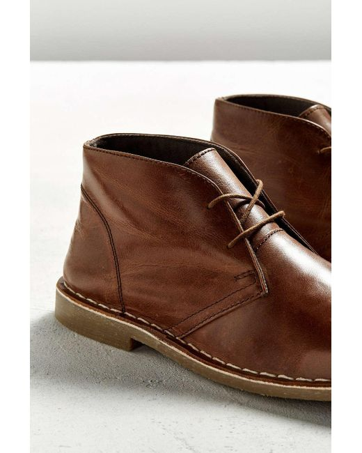 outfitters uo leather desert boot in brown for
