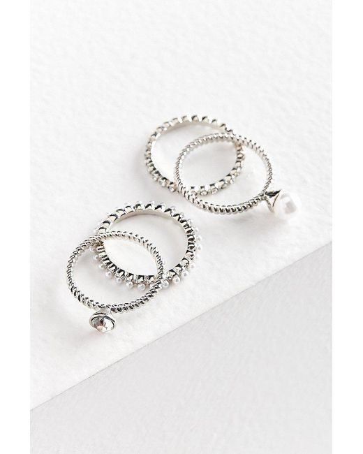 Urban Outfitters | Metallic Maeve Pearl Ring Set | Lyst