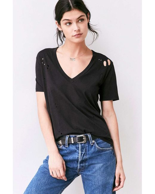 Truly Madly Deeply | Black Suki Destructed Tee | Lyst