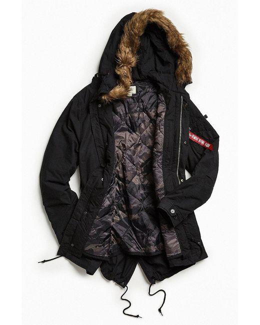 Alpha industries J4 Fishtail Parka Jacket in Black for Men | Lyst