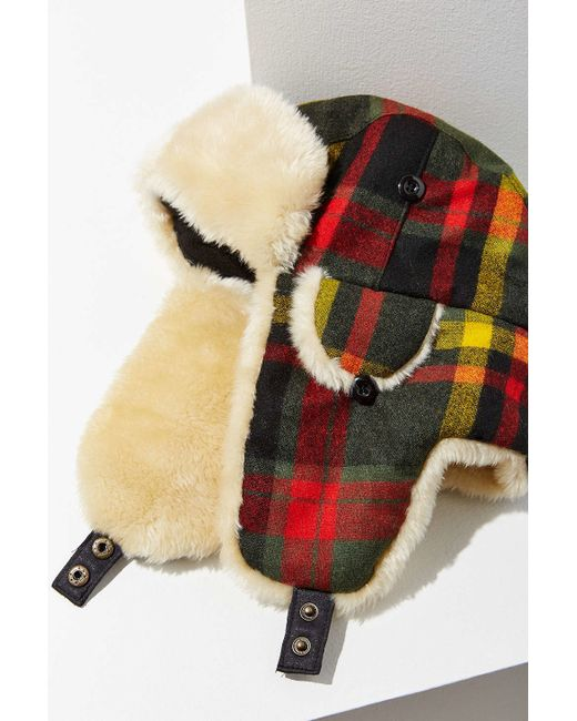 378e9157f728f ... Plaid Trapper Hat  Woolrich Plaid Wool Trapper Hat In Multicolor (RED)