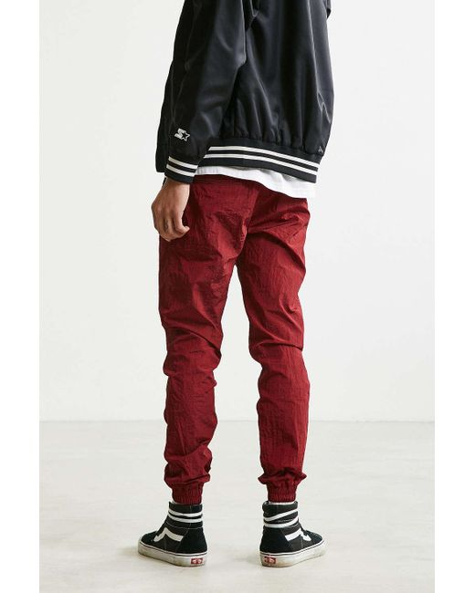 Publish Kamali Crinkled Nylon Jogger Pant In Red For Men