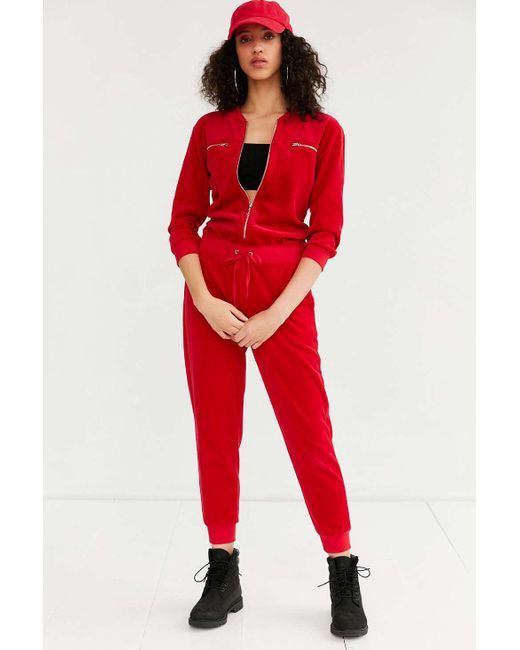 2f02e448856 Juicy couture for uo velour coverall jumpsuit in red lyst jpg 520x650 Velour  jumpsuits for women