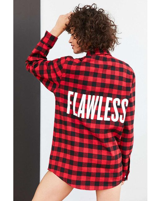 Urban outfitters beyonce flawless buffalo check flannel for Red buffalo flannel shirt