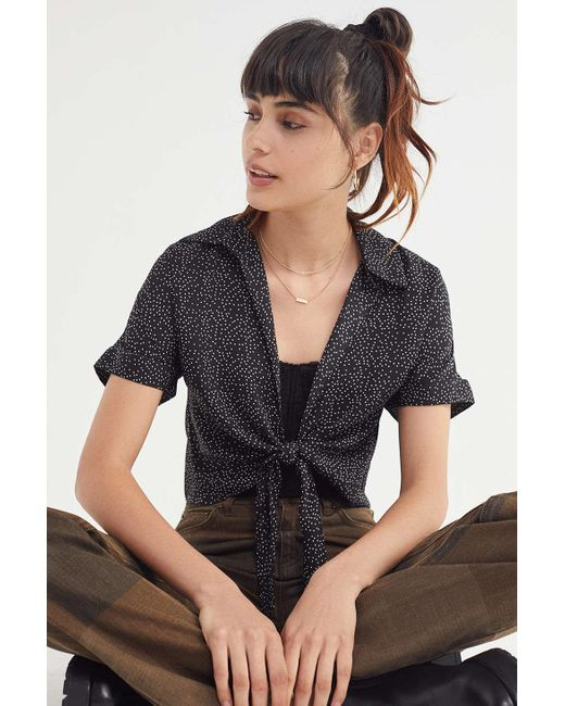 Urban Outfitters - Black Uo Tie-front Short Sleeve Cropped Top - Lyst
