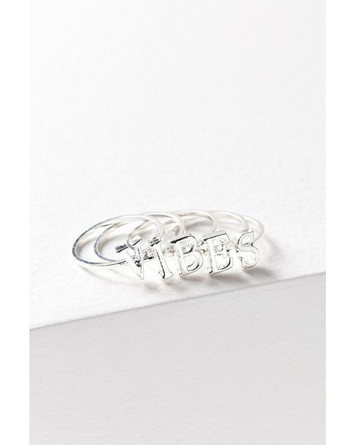 Urban Outfitters | Metallic Verbiage Stacking Ring Set | Lyst