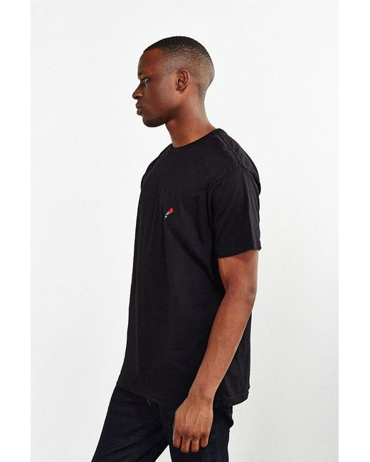 ... Urban Outfitters - Black Embroidered Rose T-shirt for Men - Lyst ...
