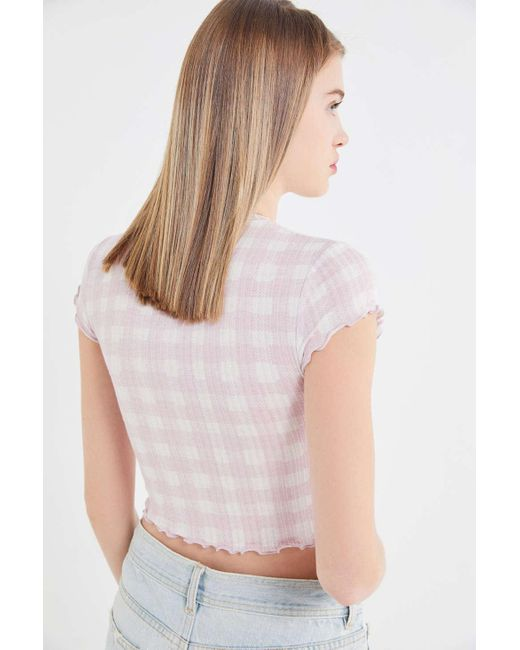 6b78e6a667cf9 ... Out From Under - Purple Lindsey Ribbed Lettuce-edge Cropped Top - Lyst  ...