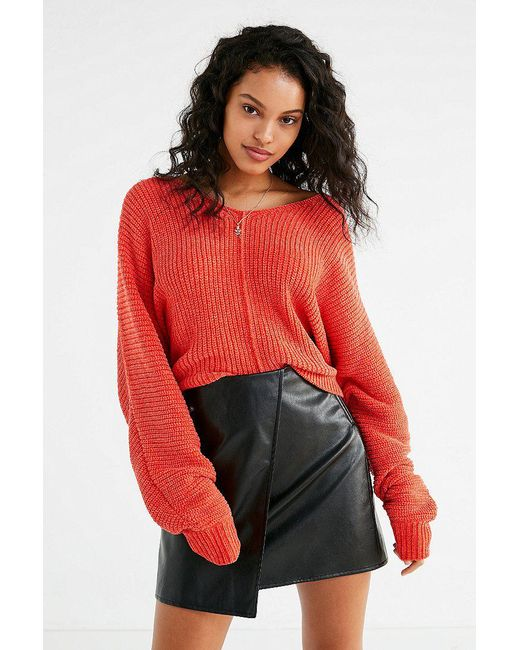 Urban Outfitters | Red Uo Oversized Chenille V-neck Sweater | Lyst