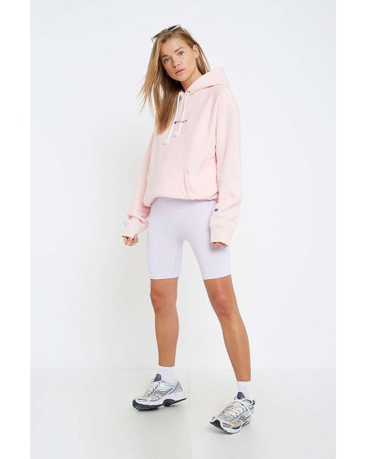 981064b56cea Champion - Uo Exclusive Pale Pink Logo Script Hoodie - Womens M - Lyst ...