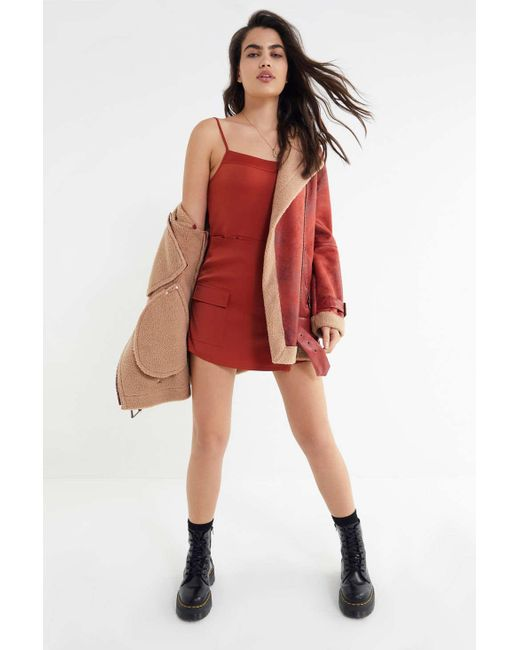 d3119b0e4730 ... Urban Outfitters - Orange Uo Jessa Slinky Satin Wrap-front Romper - Lyst  ...