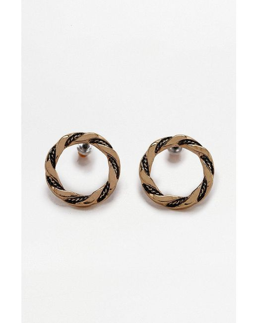 Urban Outfitters | Metallic Vintage Twist Circle Stud Earrings | Lyst