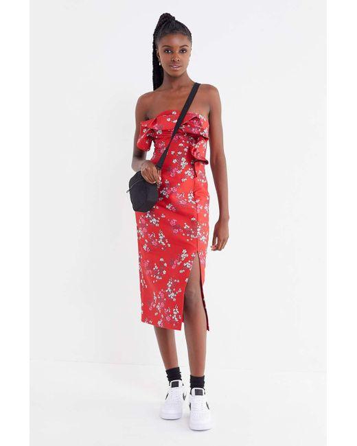 b6eeca751dc ... Keepsake - Red Heart + Soul Floral Strapless Midi Dress - Lyst ...