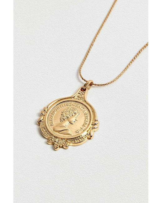 Urban Outfitters - Metallic Elizabeth Coin Pendant Necklace - Womens All - Lyst