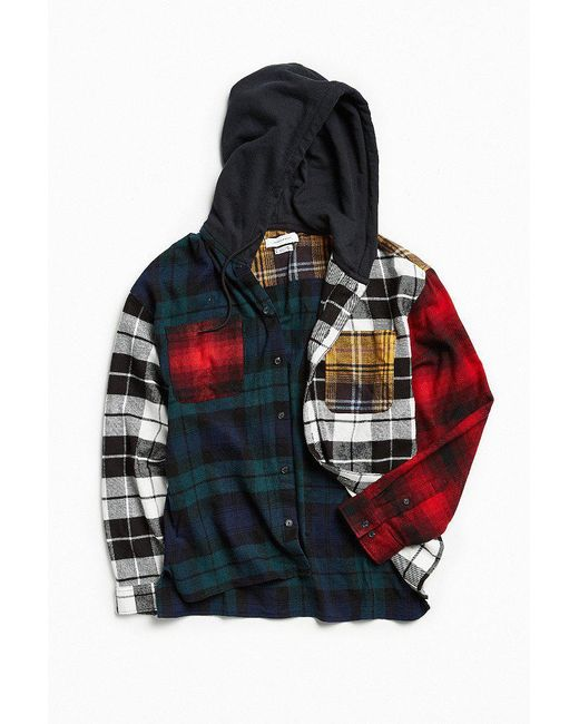 Urban outfitters uo mixed plaid flannel hooded button down for Mixed plaid shirt mens