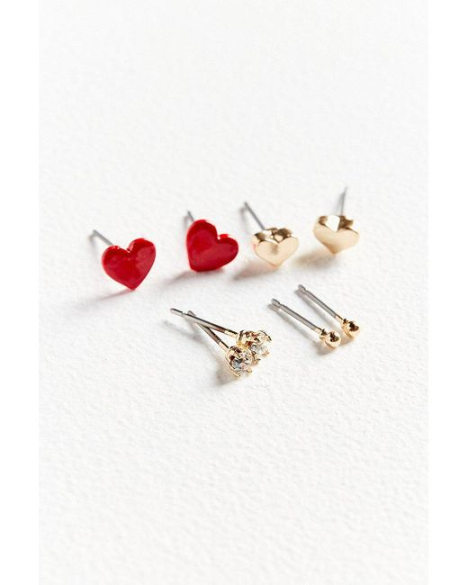 Urban Outfitters | Metallic Blaire Heart Post Earring Set | Lyst