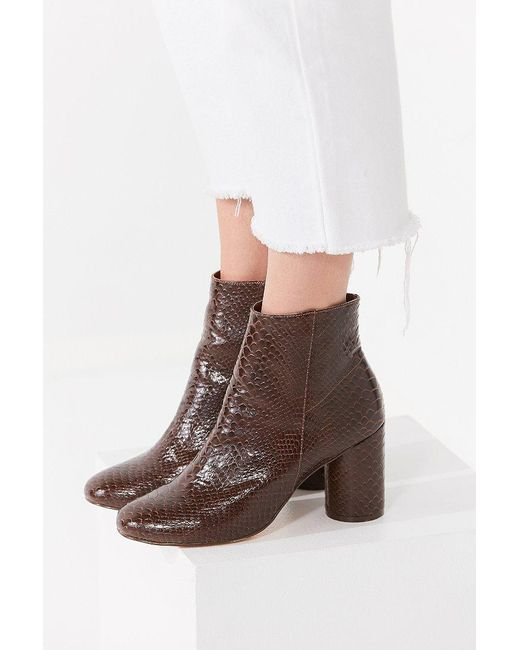 Urban Outfitters - Sabrina Faux Brown Snakeskin Ankle Boot - Lyst