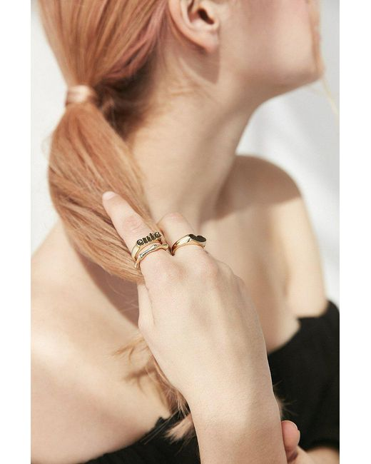 Urban Outfitters | Metallic Sweetheart Ring Pack | Lyst