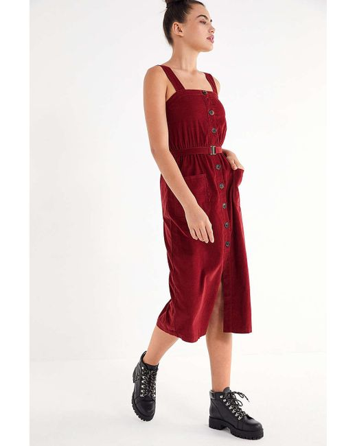 02b2067e5f Urban Outfitters - Red Uo Cordelia Corduroy Midi Dress - Lyst ...