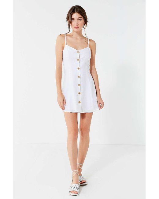 061608ffe4 ... Urban Outfitters - White Uo Button-down Strappy Back Linen Dress - Lyst  ...