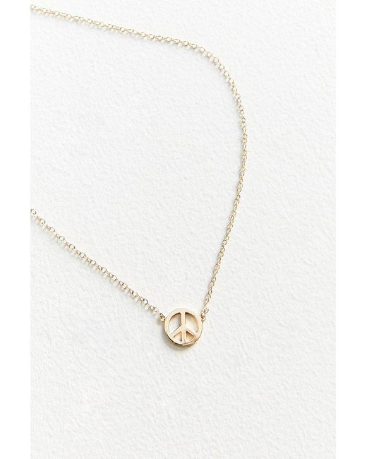 Urban Outfitters | Metallic Peace Sign Charm Necklace | Lyst