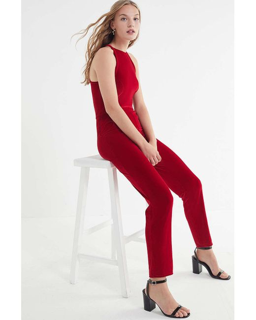 3d13118929b Urban Outfitters - Red Uo Naomi Velvet Jumpsuit - Lyst ...
