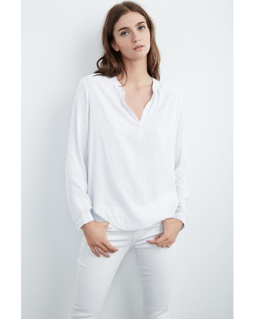 Velvet By Graham & Spencer | White Rosie Half-placket Challis Blouse | Lyst