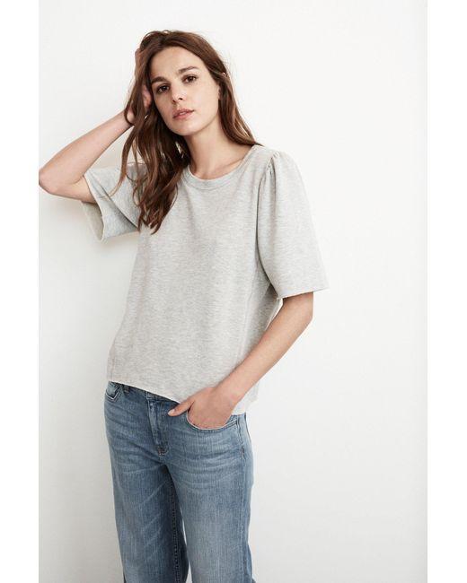 Mango | Gray Astley Fleece Puff Sleeve Top In Heather Grey | Lyst