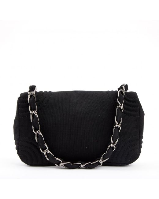 ca13fa573d54 Chanel Vintage Timeless Black Cloth Handbag in Black - Lyst