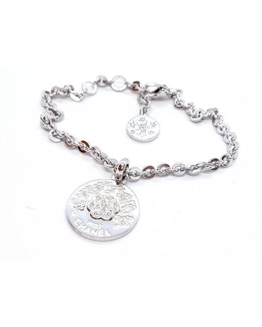 Chanel - Metallic Pre-owned Camélia White Gold Bracelet - Lyst