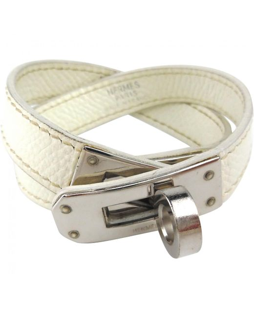 Hermès - White Pre-owned Kelly Double Tour Leather Bracelet - Lyst
