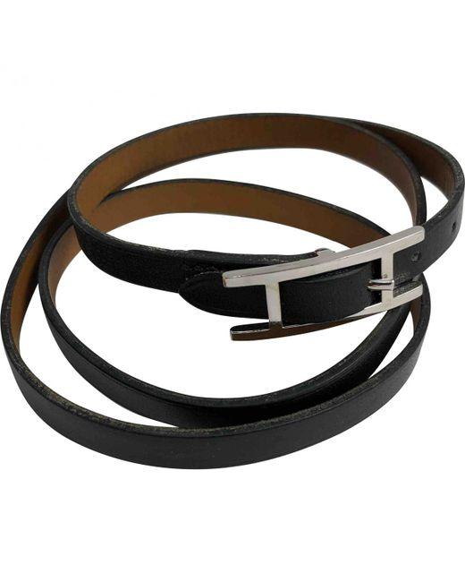 Hermès - Black Hapi Leather Bracelet - Lyst