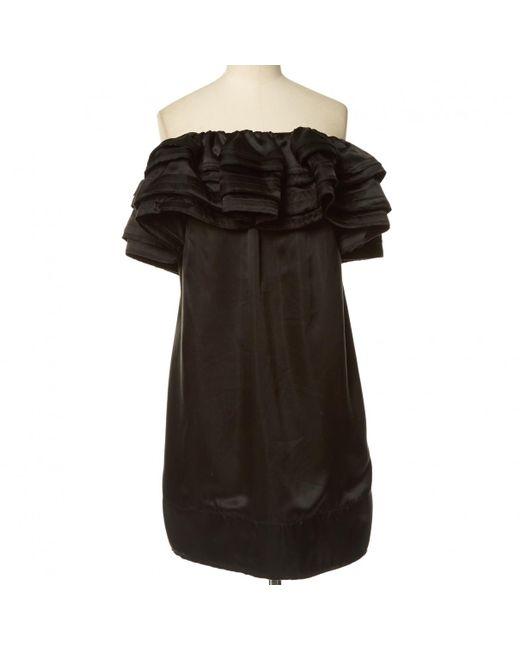 Lanvin - Black Silk Mid-length Dress - Lyst