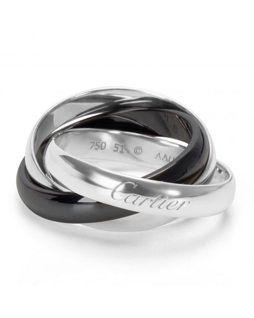 Cartier - Metallic Pre-owned Trinity White Gold Ring - Lyst