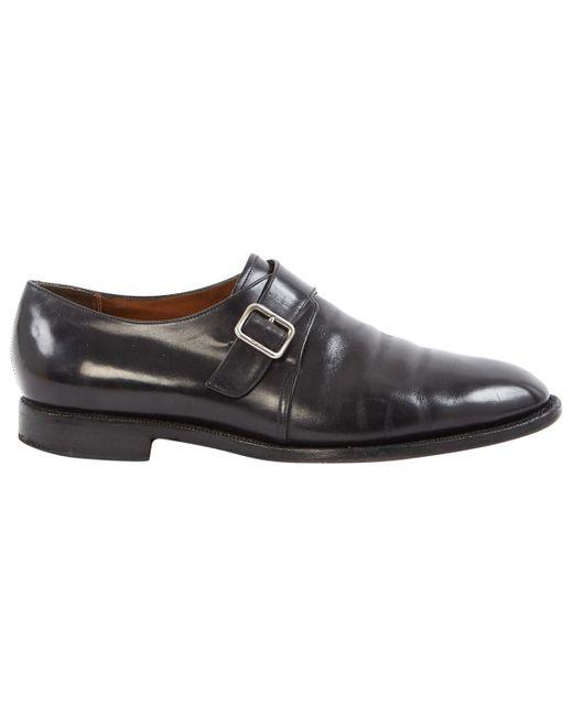 5d4f2806892 Lyst - Ferragamo Black Leather Flats in Black for Men