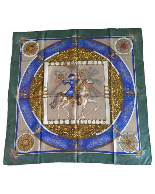Hermès - Blue Khaki Silk Silk Handkerchief - Lyst