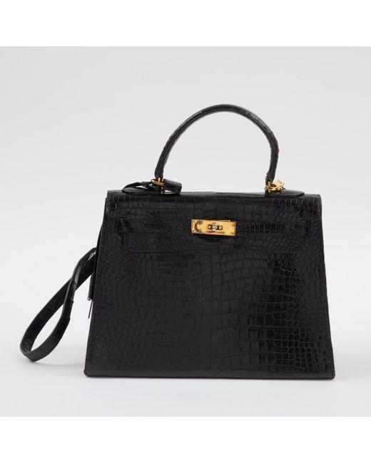 afce2cfa28 Lyst - Sac à main Kelly en crocodile Hermès en coloris Noir