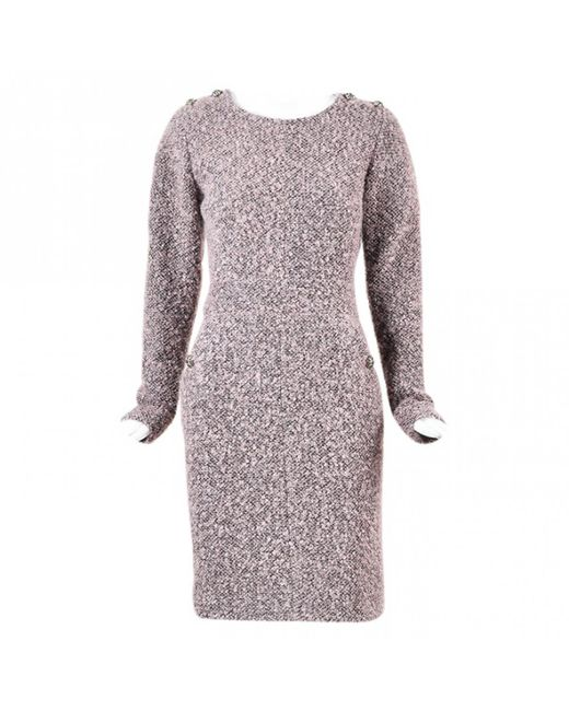 Chanel - Pink Wool Mid-length Dress - Lyst