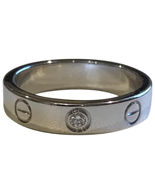 Cartier - Metallic Love Silver White Gold Ring - Lyst