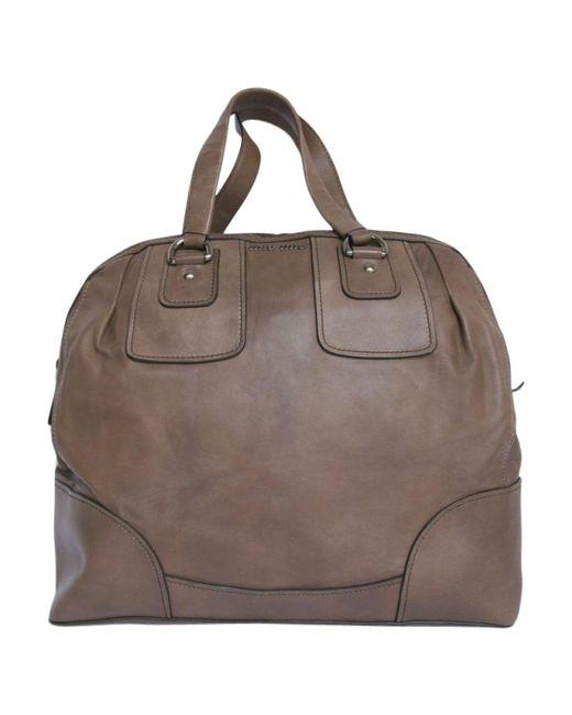 Miu Miu | Pre-owned Brown Leather Travel Bag | Lyst