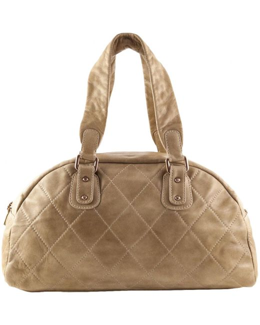 Chanel - Natural Pre-owned Leather Bowling Bag - Lyst