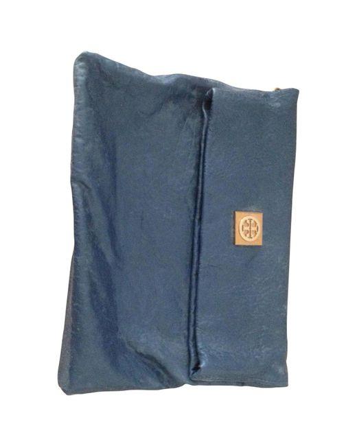 Tory Burch - Blue Leather Clutch Bag - Lyst