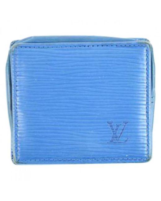 Louis Vuitton - Pre-owned Vintage Blue Leather Wallets - Lyst