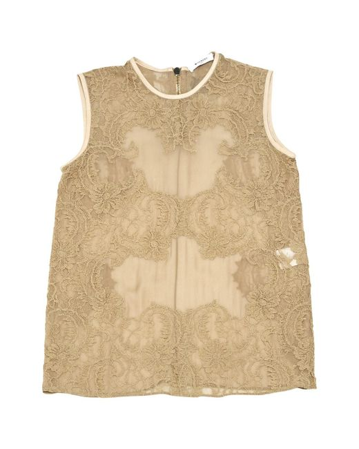 Givenchy - Natural Beige Silk Top - Lyst