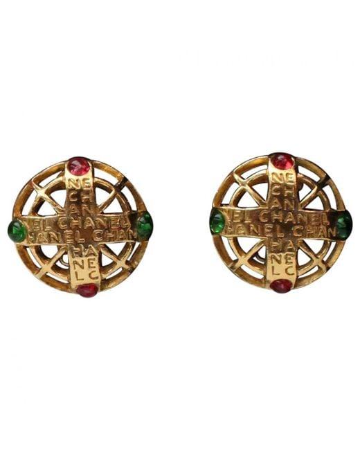 Chanel - Metallic Pre-owned Vintage Gold Metal Earrings - Lyst