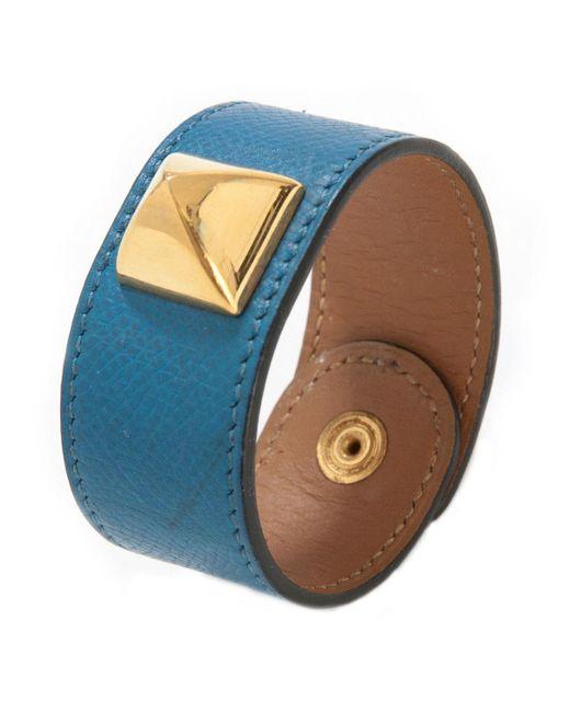 Hermès - Médor Blue Leather Bracelets - Lyst