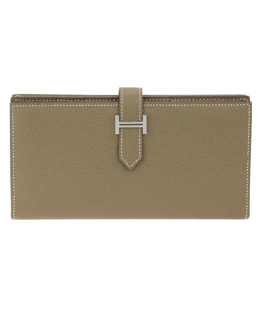 Hermès - Brown Béarn Leather Wallet - Lyst