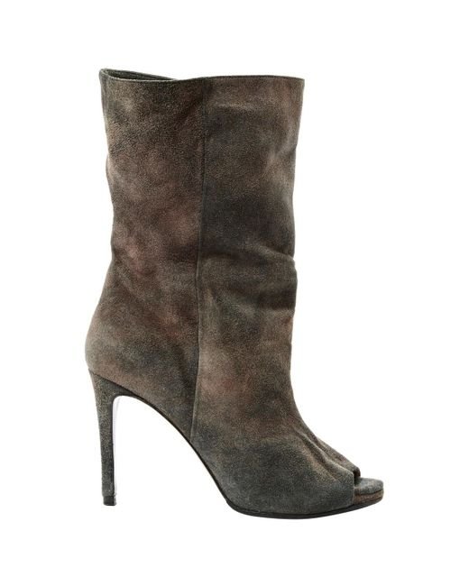 69dd6dcac0ed Lyst - Acne Studios Grey Suede Ankle Boots in Gray